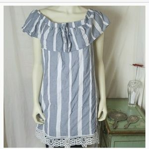 Blue White Stripe Dress Trixxi Clothing Co XL